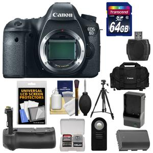 Canon EOS 6D Digital SLR Camera Body with 64GB Card and Case and Battery and Charger and Battery Grip and Tripod and Remote and Accessory Kit