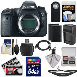 Canon EOS 6D Digital SLR Camera Body with 64GB Card and 2 Batteries and Charger and Sling Strap and HDMI Cable and Remote and Accessory Kit
