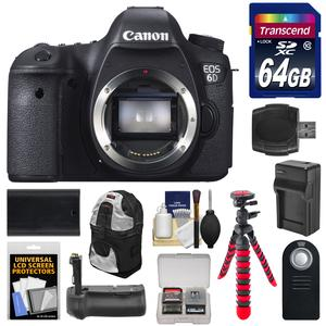 Canon EOS 6D Digital SLR Camera Body with 64GB and Backpack and Grip and Battery and Charger and Flex Tripod and Remote and Accessory Kit
