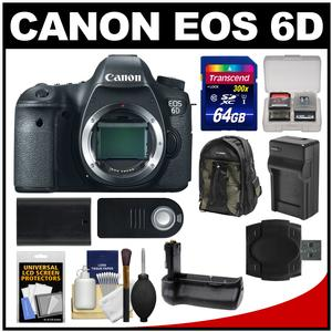 Canon EOS 6D Digital SLR Camera Body with 64GB Card and Backpack and Battery-Charger and Grip and Remote and Accessory Kit