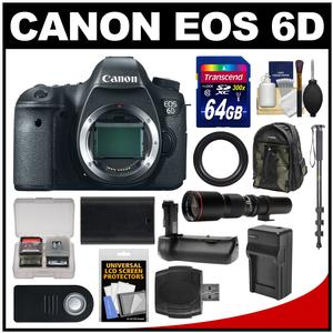 Canon EOS 6D Digital SLR Camera Body with 500mm Telephoto Lens and 64GB Card and Backpack and Battery and Charger and Grip and Monopod Kit