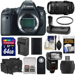 Canon EOS 6D Digital SLR Camera Body with EF 70-300mm IS USM Lens and 64GB Card and Battery and Charger and Case and Flash and Grip and Kit