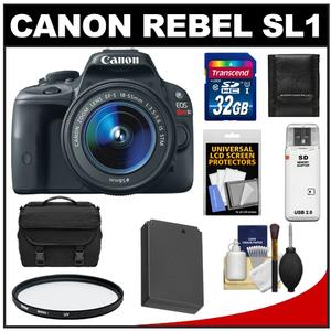 Canon EOS Rebel SL1 Digital SLR Camera + EF-S 18-55mm IS STM Lens with 32GB Card + Battery + Case + Filter + Accessory Kit at Sears.com