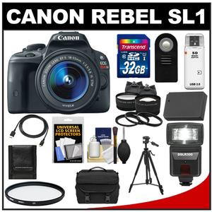 Canon EOS Rebel SL1 Camera + EF-S 18-55 IS STM Lens + 32GB Card + Battery + Case + Flash + Tele/Wide Lenses + Tripod + Acc Kit at Sears.com