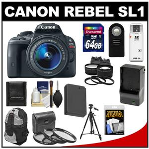 Canon EOS Rebel SL1 Camera + EF-S 18-55 IS STM Lens + 64GB Card + Batt + Charger + Backpack + Tele/Wide Lenses + Filters + Tripod Kit at Sears.com