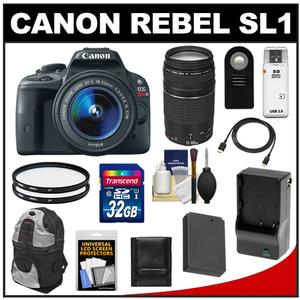Canon EOS Rebel SL1 Camera + EF-S 18-55 IS STM Lens + EF 75-300 III Lens + 32GB Card + Battery + Backpack + Filters + Acc Kit at Sears.com