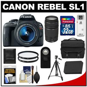 Canon EOS Rebel SL1 Camera + EF-S 18-55 IS STM Lens + EF 75-300 Lens + 32GB Card + Battery + Case + BG-E8 Grip + Filters + Tripod Kit at Sears.com