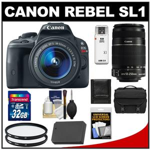 Canon EOS Rebel SL1 Camera + EF-S 18-55 IS STM Lens + EF-S 55-250 IS Lens + 32GB Card + Battery + Case + Filters + Acc Kit at Sears.com