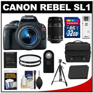 Canon EOS Rebel SL1 Camera + EF-S 18-55 IS STM Lens + EF-S 55-250 IS Lens + 32GB + Battery + Case + BG-E8 Grip + Filter + Tripod Kit at Sears.com