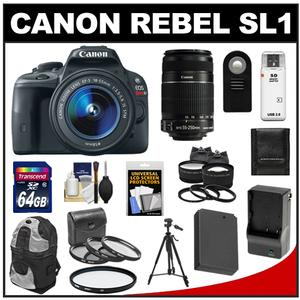 Canon EOS Rebel SL1 Camera + EF-S 18-55 IS STM Lens + EF-S 55-250 IS Lens + 64GB Card + Battery + Backpack + Tele/Wide Lenses Kit at Sears.com