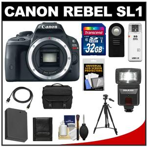 Canon EOS Rebel SL1 Digital SLR Camera Body with 32GB Card + Battery + Case + Flash + Remote + Tripod + HDMI Cable + Accessory Kit at Sears.com