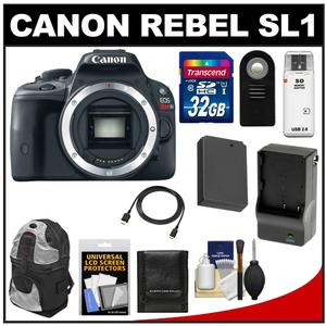 Canon EOS Rebel SL1 Digital SLR Camera Body with 32GB Card + Battery + Charger + Backpack + Remote + HDMI Cable + Accessory Kit at Sears.com
