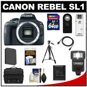 Canon EOS Rebel SL1 Digital SLR Camera Body with 64GB Card + Battery + Case + Flash + Remote + Tripod + HDMI Cable + Accessory Kit at Sears.com