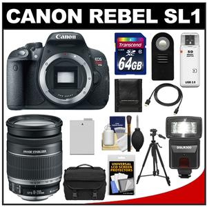 Canon EOS Rebel SL1 Digital SLR Camera Body with EF-S 18-200mm IS Lens + 64GB Card + Battery + Case + Flash + Tripod + Accessory Kit at Sears.com