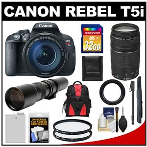 Canon EOS Rebel T5i Camera + EF-S 18-135 IS STM Lens + EF 75-300 III + 500 Lenses + 32GB Card + Battery + Backpack + Monopod Kit at Sears.com