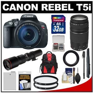 Canon EOS Rebel T5i Digital SLR Camera & EF-S 18-135mm IS STM Lens with EF 75-300mm III & 500mm Lenses + 32GB Card + Battery + Backpack + Monopod Kit