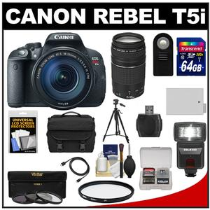 Canon EOS Rebel T5i Digital SLR Camera & EF-S 18-135mm IS STM Lens with EF 75-300mm III Lens + 64GB Card + Battery + Case + Flash + 3 UV/CPL/ND8 Filters Kit