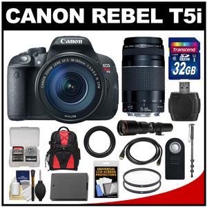 Canon EOS Rebel T5i Digital SLR Camera & EF-S 18-135mm IS STM Lens with 75-300mm III & 500mm Lenses + 32GB Card + Backpack + Battery + Monopod + Kit