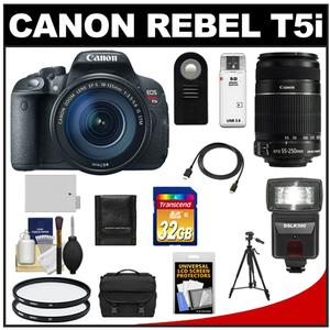 Canon EOS Rebel T5i Camera + EF-S 18-135 IS STM Lens + EF-S 55-250 IS Lens + 32GB + Battery + Case + Flash + Filters + Tripod Kit at Sears.com