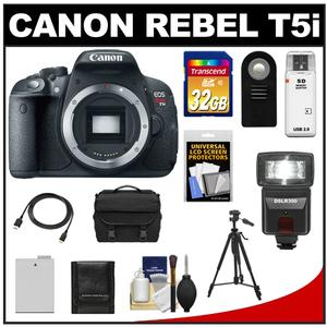Canon EOS Rebel T5i Digital SLR Camera Body with 32GB Card + Battery + Case + Flash + Remote + Tripod + HDMI Cable + Accessory Kit at Sears.com
