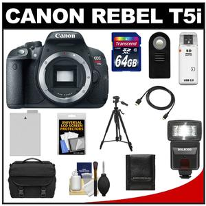 Canon EOS Rebel T5i Digital SLR Camera Body with 64GB Card + Battery + Case + Flash + Remote + Tripod + HDMI Cable + Accessory Kit at Sears.com