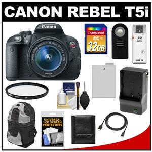 Canon EOS Rebel T5i Digital SLR Camera & EF-S 18-55mm IS STM Lens with 32GB Card + Battery & Charger + Backpack + Filter + HDMI Cable + Accessory Kit