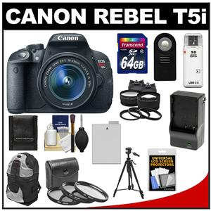 Canon EOS Rebel T5i Digital SLR Camera & EF-S 18-55mm IS STM Lens with 64GB Card + Battery & Charger + Backpack + Tele/Wide Lenses + Filters + Tripod Kit