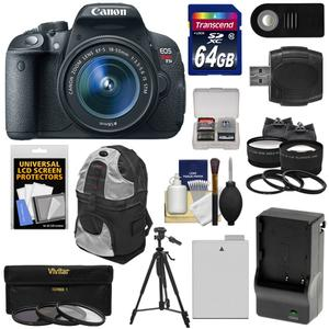 Canon EOS Rebel T5i Digital SLR Camera and EF-S 18-55mm IS STM Lens with 64GB Card + Battery and Charger + Backpack + Tele-Wide Lenses + Filters + Tripod Kit