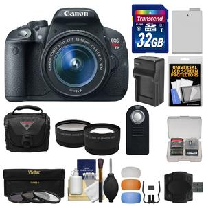 Canon EOS Rebel T5i Digital SLR Camera and EF-S 18-55mm IS STM Lens with 32GB Card + Case + Battery-Charger + Tele-Wide Lenses + 3 Filters Kit