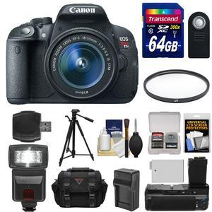 Canon EOS Rebel T5i Digital SLR Camera and EF-S 18-55mm IS STM Lens with 64GB Card + Flash + Grip + Battery + Tripod + Case + Filter Kit