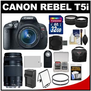 Canon EOS Rebel T5i Digital SLR Camera & EF-S 18-55mm IS STM Lens with EF 75-300mm III Lens + 32GB Card + Case + Battery/Charger + Tele/Wide Lens Kit