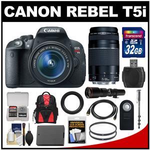 Canon EOS Rebel T5i Digital SLR Camera & EF-S 18-55mm IS STM Lens with 75-300mm III & 500mm Lenses + 32GB Card + Backpack + Battery + Monopod + Kit