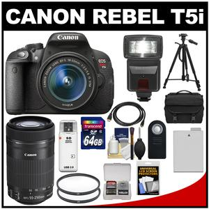 Canon EOS Rebel T5i Digital SLR Camera & EF-S 18-55mm IS STM Lens with EF-S 55-250mm IS STM Lens + 64GB Card + Battery + Case + Flash + Tripod + Kit