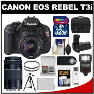 Canon EOS Rebel T3i Digital SLR Camera Body & EF-S 18-55mm IS II Lens with 75-300mm Lens + 32GB Card + Case + Flash + Grip + Battery + Tripod + Accessory Kit