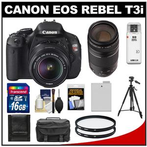 Canon EOS Rebel T3i Digital SLR Camera Body & EF-S 18-55mm IS II Lens with 75-300mm III Lens + 16GB Card + Battery + Case + (2) Filters + Tripod + Cleaning Kit