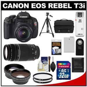 Canon EOS Rebel T3i Digital SLR Camera Body & EF-S 18-55mm IS II Lens + 75-300mm III Lens + 32GB Card + Wide/Tele Lens + Battery + Remote + Filters + Tripod Kit