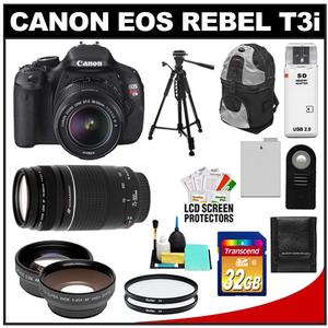 Canon EOS Rebel T3i Digital SLR Camera Body & EF-S 18-55mm IS II Lens with 75-300mm III Lens + 32GB Card + Tripod + Case +Filter + Telephoto/Wide-Angle Lens Kit