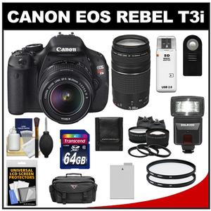 Canon EOS Rebel T3i Digital SLR Camera Body & EF-S 18-55mm IS II Lens with 75-300mm III Lens + 64GB Card + Battery + Case + Tele/Wide Lens Kit + Accessory Kit