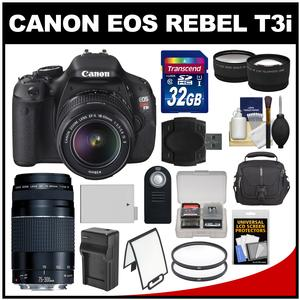 Canon EOS Rebel T3i Digital SLR Camera Body & EF-S 18-55mm IS II Lens with 75-30mm III Lens + 32GB Card + Case + Battery & Charger + Tele/Wide Lens Kit