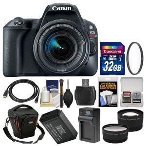 Canon EOS Rebel SL2 Wi-Fi Digital SLR Camera and EF-S 18-55mm IS STM Lens - Black - with 32GB Card + Case + Battery and Charger + UV Filter + Tele-Wide Lens Kit