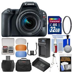 Canon EOS Rebel SL2 Wi-Fi Digital SLR Camera and EF-S 18-55mm IS STM Lens - Black - with 32GB Card + Case + Battery and Charger + Tripod + UV Filter + Kit
