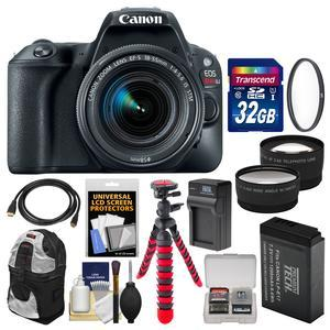 Canon EOS Rebel SL2 Wi-Fi Digital SLR Camera and EF-S 18-55mm IS STM Lens - Black - with 32GB Card + Backpack + Battery and Charger + Tripod + UV Filter + Tele-Wide Lenses Kit