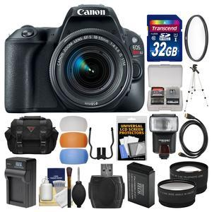 Canon EOS Rebel SL2 Wi-Fi Digital SLR Camera and EF-S 18-55mm IS STM Lens - Black - with 32GB Card + Case + Flash + Battery and Charger + Tripod + UV Filter + Lenses + Kit
