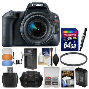 Canon EOS Rebel SL2 Wi-Fi Digital SLR Camera and EF-S 18-55mm IS STM Lens - Black - with 64GB Card + Case + Battery and Charger + Flash Diffusers + UV Filter + Kit