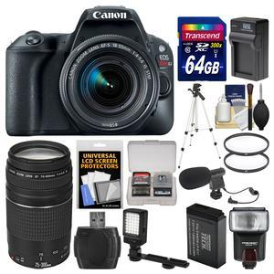 Canon EOS Rebel SL2 Wi-Fi Digital SLR Camera and EF-S 18-55mm IS STM Lens - Black - with 75-300mm III Lens + 64GB Card + Flash + Video Light + Battery and Charger + Tripod Kit