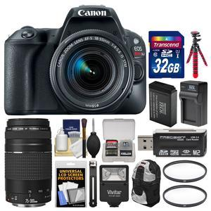 Canon EOS Rebel SL2 Wi-Fi Digital SLR Camera and EF-S 18-55mm IS STM Lens - Black - with 75-300mm III Lens + 32GB Card + Backpack + Flash + Battery and Charger + Tripod + Kit