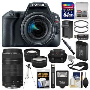 Canon EOS Rebel SL2 Wi-Fi Digital SLR Camera and EF-S 18-55mm IS STM Lens - Black - with 75-300mm III Lens + 64GB Card + Case + Flash + Battery-Charger + Tripod + Filters Kit