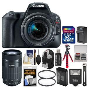 Canon EOS Rebel SL2 Wi-Fi Digital SLR Camera and EF-S 18-55mm IS STM Lens - Black - with 55-250mm Lens + 32GB Card + Backpack + Flash + Battery and Charger + Tripod + Kit