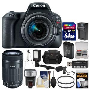 Canon EOS Rebel SL2 Wi-Fi Digital SLR Camera and EF-S 18-55mm IS STM Lens - Black - with 55-250mm Lens + 64GB Card + Case + Flash + Battery and Charger + Tripod + Filters + Kit