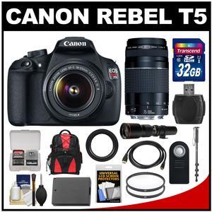 Canon EOS Rebel T5 Digital SLR Camera Body & EF-S 18-55mm IS II Lens with 75-300mm III & 500mm Lenses + 32GB Card + Backpack + Battery + Monopod + Kit